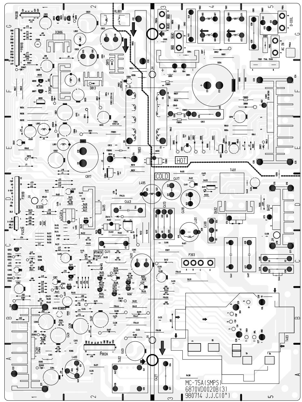 tv sanyo power supply smps schematic circuit diagram