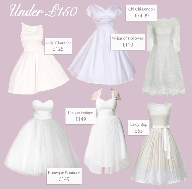 6 short vintage 50s style wedding dresses under £150