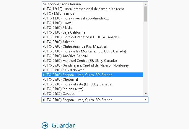 Zona horaria Hotmail