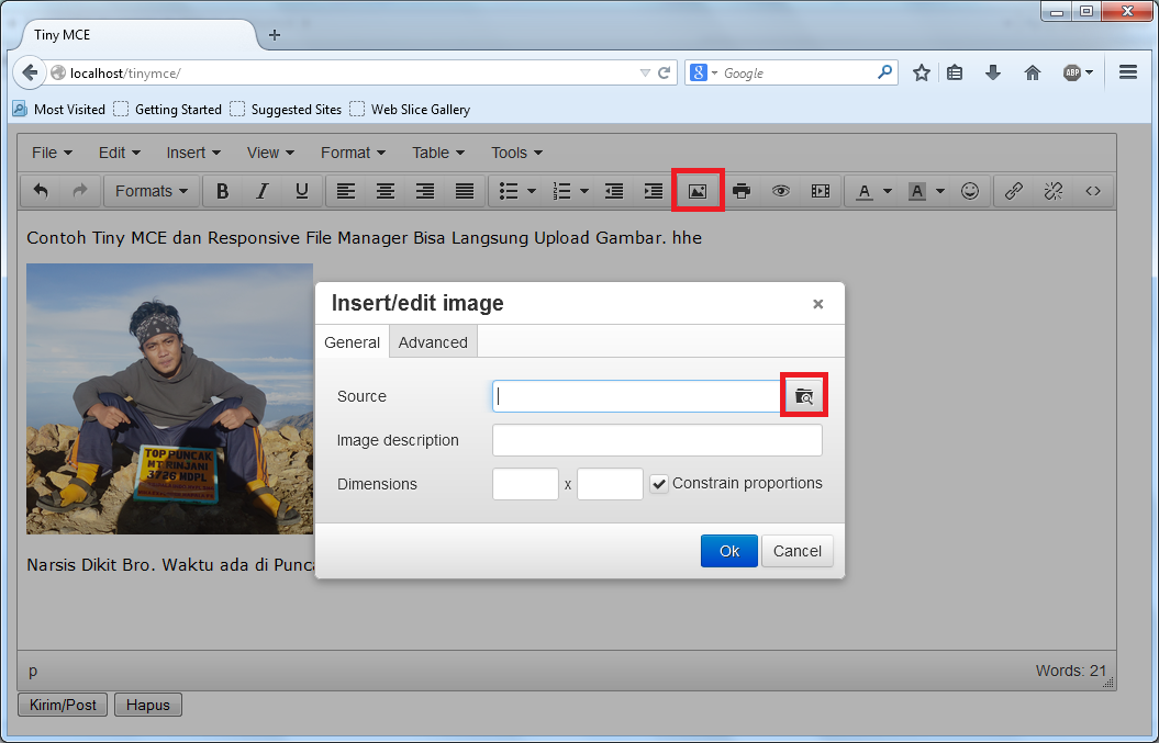 Editor Visual Pada Halaman Website dengan TinyMCE
