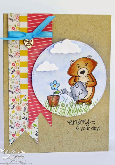 Winston Bear Garden Card by Lynn for Inky Paws Challenge #20 | Garden Whimsy stamp set by Newton's Nook Deisgns