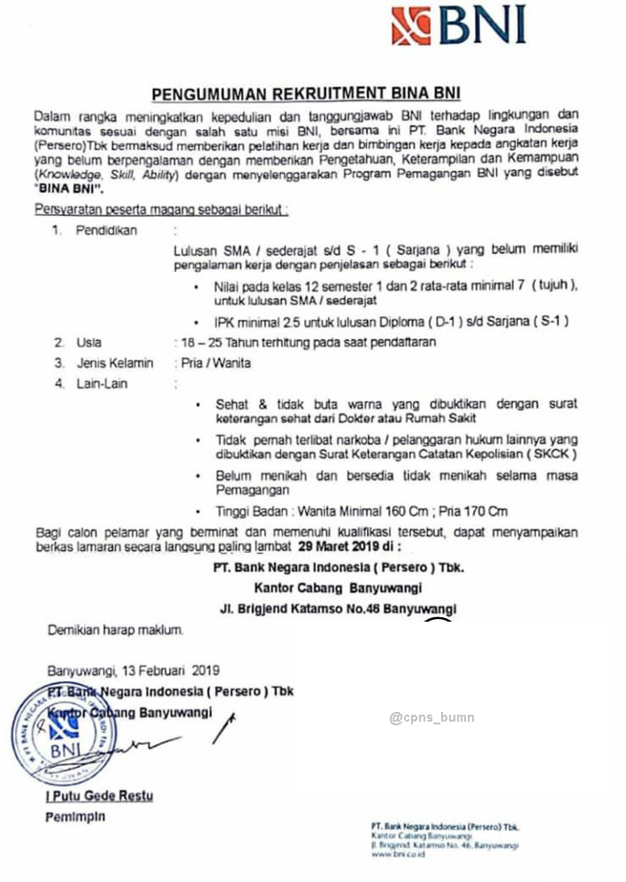 Lowongan Bina BNI PT Bank Negara Indonesia Persero Tbk Tingkat SMA D3, S1