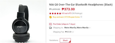 Shopee NIA Q8 Over-The-Ear Bluetooth