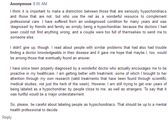 comment on hypochondriacs on the net