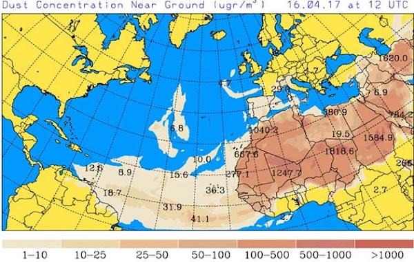 La calima vuelve a Canarias, viernes 14 abril