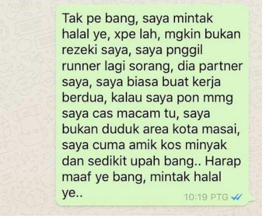 Luahan Runner Dituduh Tamak Caj RM10 Untuk Servis Penghantaran Makanan