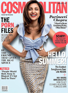 Parineeti Chopra cute smile on cover Of Cosmopolitan India Magazine April 2017