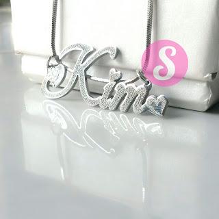 kalung nama monel silver grafir - kim