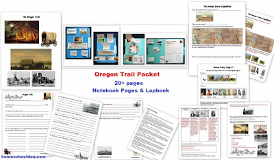 http://homeschoolden.com/2017/09/19/oregon-trail-lapbook-and-notebook-pages/