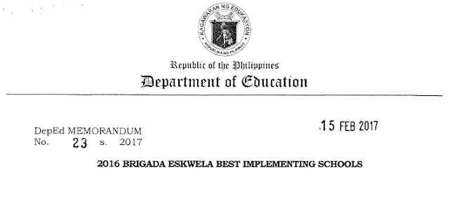 Lists of Best Implementing Schools in Brigada Eskwela 2016