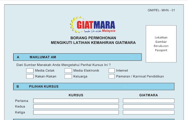 Download borang permohonan GIATMARA online untuk pelajar yang berminat