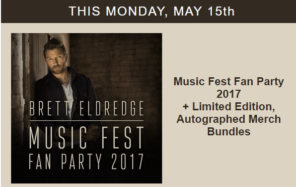 Brett eldredge fan party on sale monday may 15th 2018 cma fest brett eldredge announced that tickets for his 2017 fan party will go on sale monday may 15th tickets will be sold at his official web store here m4hsunfo
