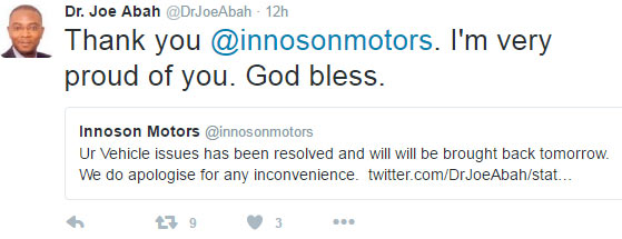 Innoson repairs SUV of president Buhari's aide who complained on Twitter