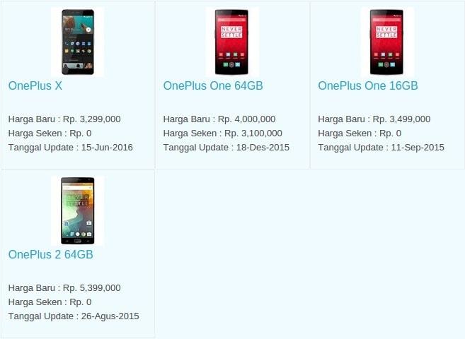 Daftar Harga Hp Terbaru OnePlus Juli 2016