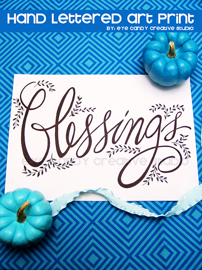thanksgiving art, hand lettered art print, blessings, inspirational print