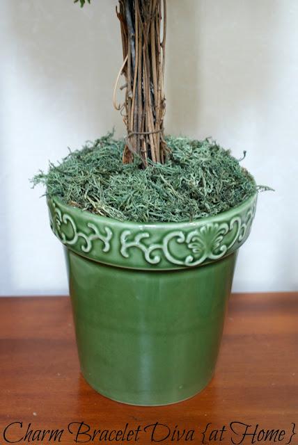 topiary base reindeer moss green ceramic flower pot