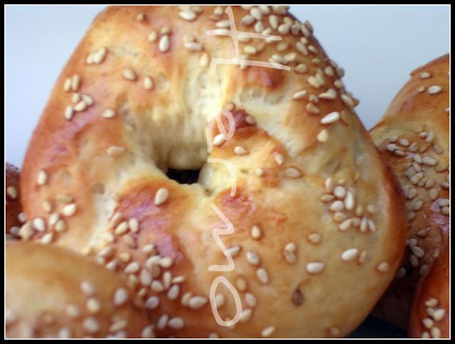 receta casera de bollitos de pan, bagels