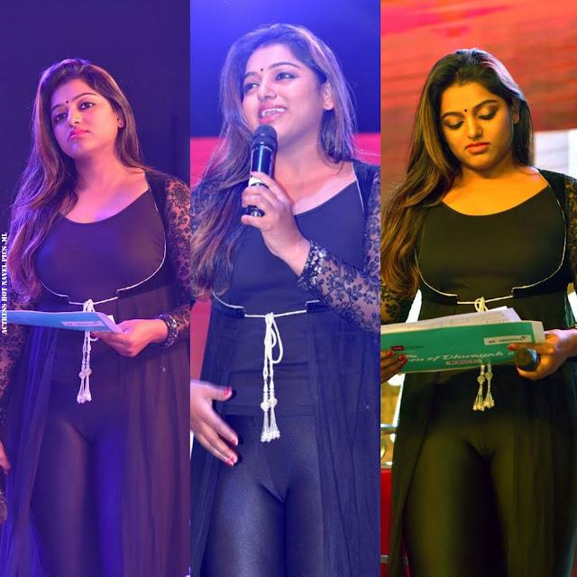 TV anchor Meera Anil latest photos in Transparent saree   Sleeveless blouse exposing Navel Navel Queens