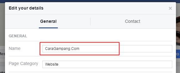 mengganti nama fanspage