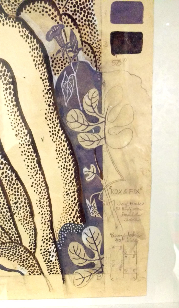 close up of Rox and Fix by Josef Frank as the Fashion and Textile Museum. On Kim Dellow's Blog.