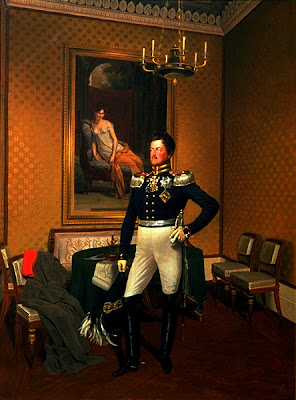 Prince Augustus of Prussia by Franz Krüger, 1817. The Prince stands before the portrait of Madame Récamier.