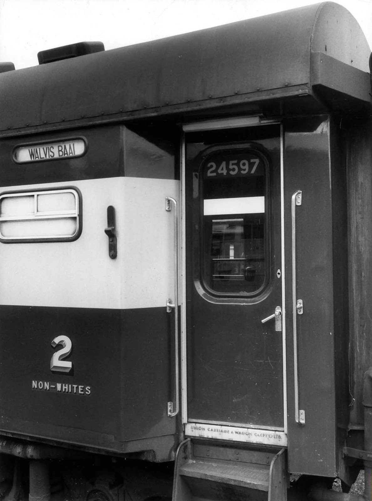 A rail wagon with the words 'Non-Whites'. 1978.