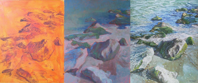 Artist Martin Davey progress on beach painting rock close up