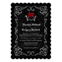 black gothic skeletons wedding invitation review