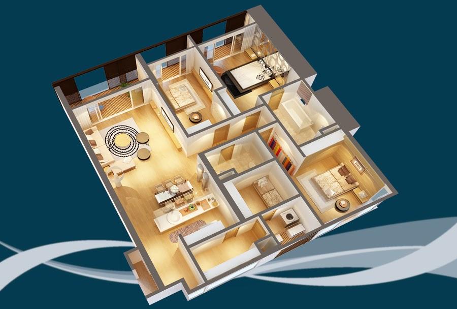Thiết kế căn hộ CH6A - 191m2 Chung cư Dolphin Plaza