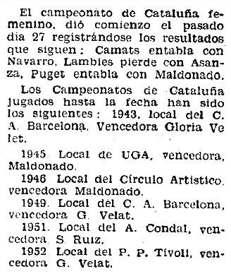 Campeonato Femenino de Ajedrez de Catalunya 1955 en Mundo Deportivo del 1 de abril de 1955
