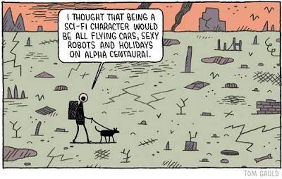Meme de humor sobre frustraciones futuristas