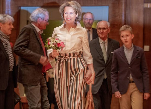 Queen Mathilde and her son, Prince Emmanuel attended the session of the first round of 2018 Queen Elisabeth Voice Competition held at Flagey