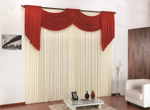 classy red and white curtains