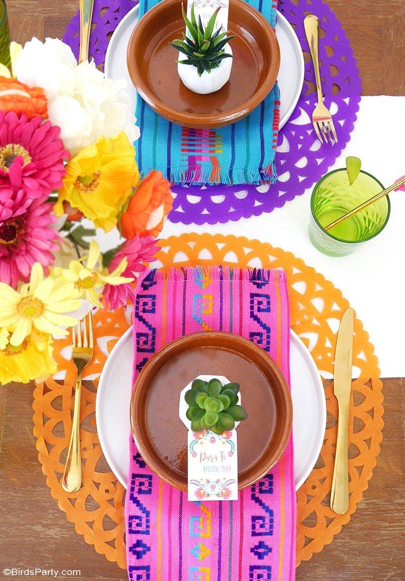 Une Fiesta Mexicaine Colorée - idées créatives pour la décoration de fête DIY, table, le menu et les cadeaux d'invités, parfaits pour un mariage ou anniversaire! by BirdsParty.fr @BirdsParty