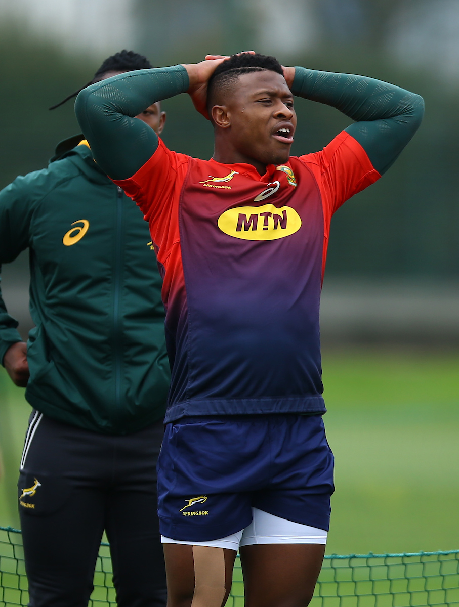 phiwe Dyantyi during the South African national rugby team training session at Latymer Lower School on October 30, 2018 in London