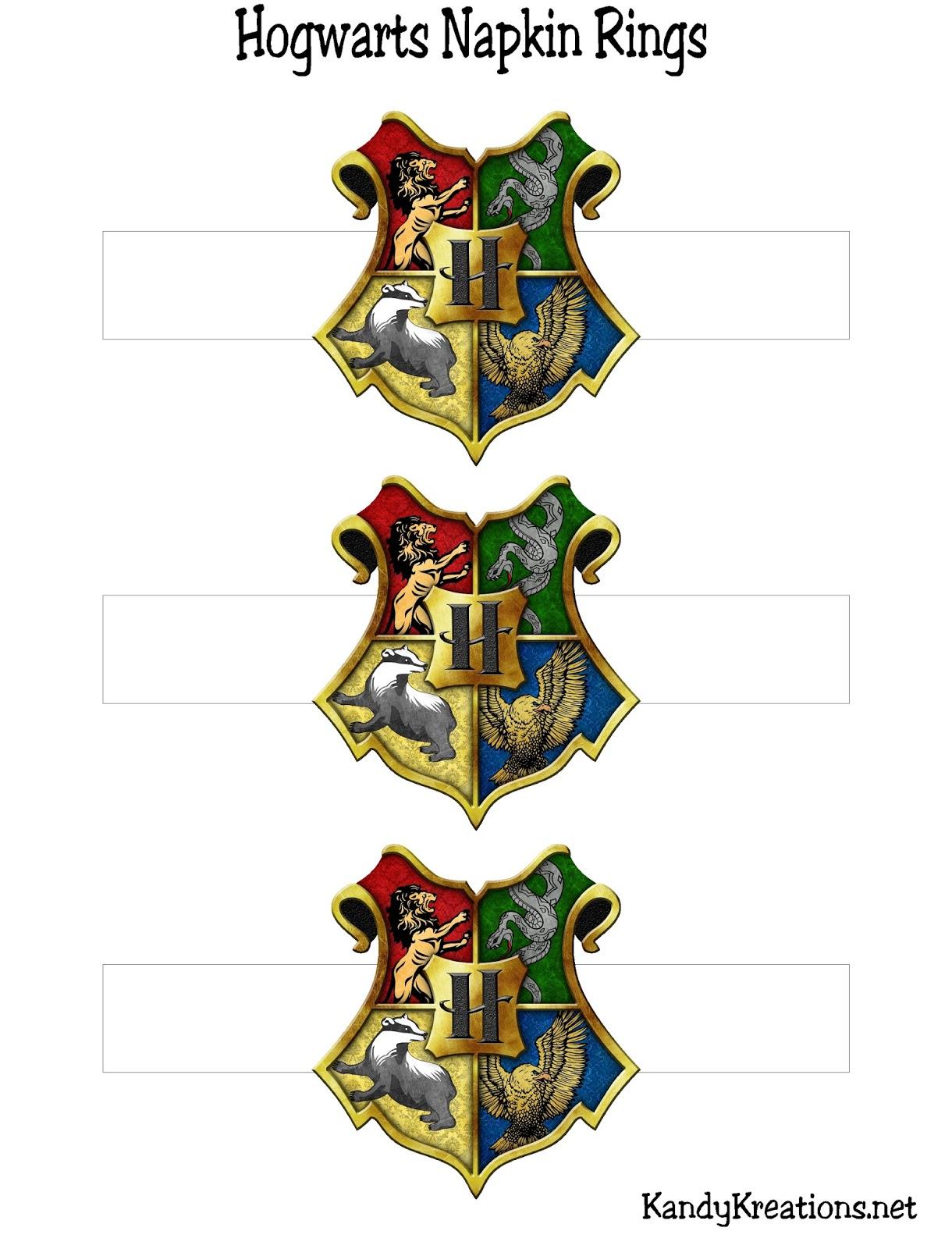 Hogwarts Crest Napkin Ring Printables