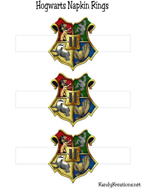 Printable Hogwarts Crest Napkin Rings perfect for your Harry Potter feast