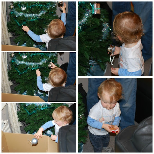 collage of a toddler taking baubles from the tree and putting them into a box