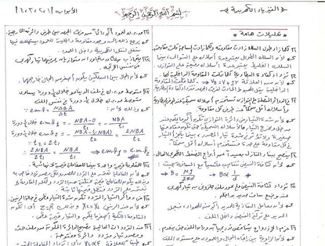 مذكرة تجميع نظري الفيزياء في 11 صفحة 2016