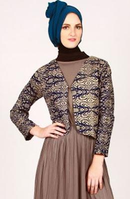 gamis muslim kombinasi blazer batik