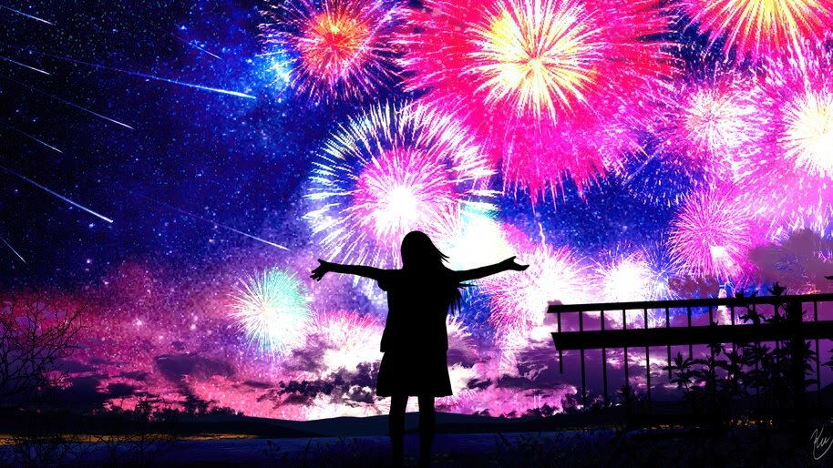 Anime, Girl, Fireworks, Silhouette, 4K, #4.2359