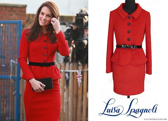 Kate Middleton wore Luisa Spagnoli red suit.