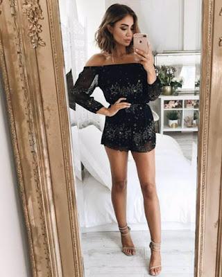 vestido corto negro elegante de noche