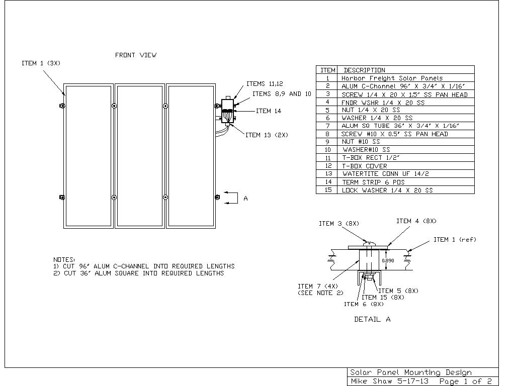 Mike Shaw Makes Blog Mounting Design For Harbor Freight Solar Panels Box Wiring Diagrams