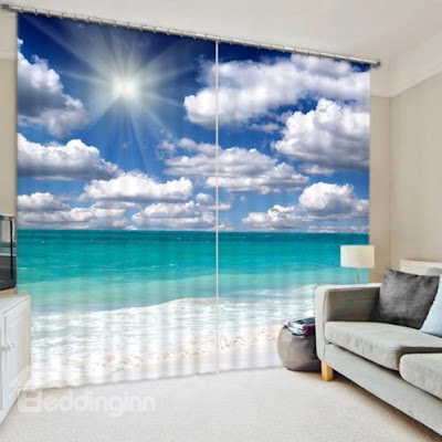 The Beautiful Scenery of Beach in the Sun Print 3D Curtain -Price : USD $ 108.99 (70% off)