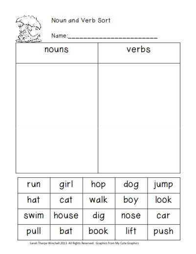 grade 1: Sample worksheets on nouns , verbs and adjectives