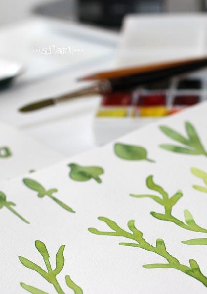 Blatter, Zweige, mit Wasserfarben gemalt