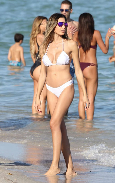 Jasmine Tosh in White Bikini on Miami Beach