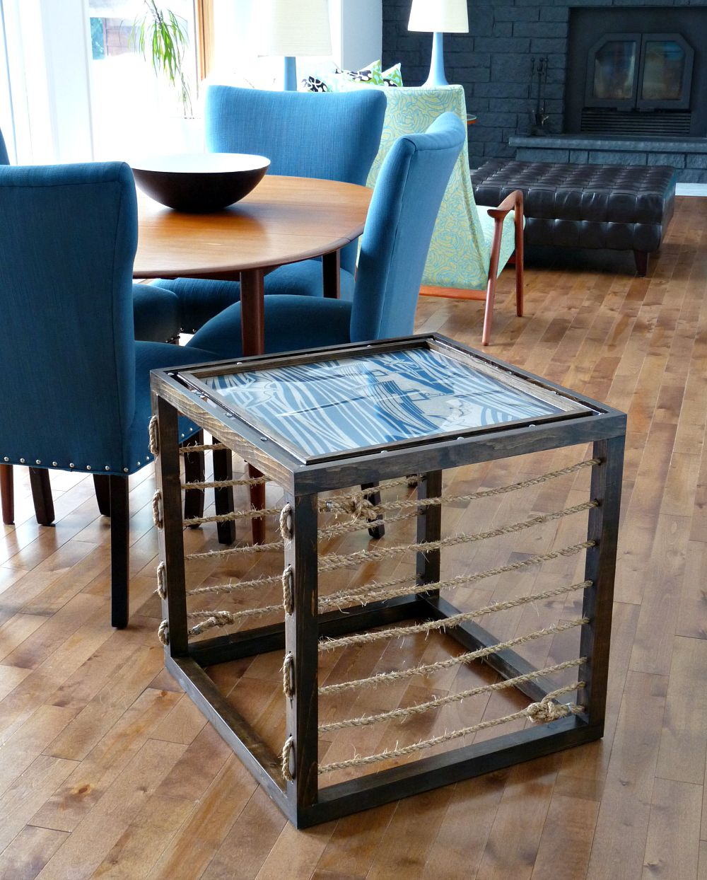 Build a DIY accent table with rope accents