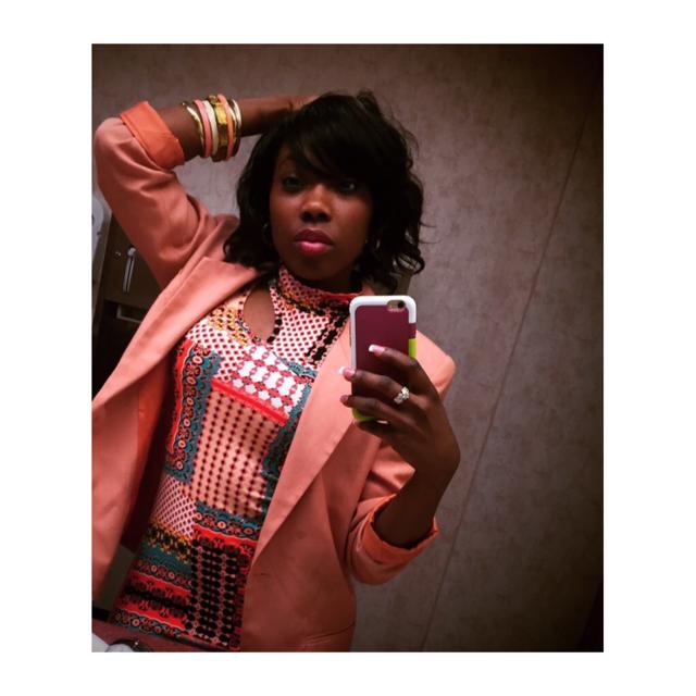Pink Blazer, Hoop Earrings